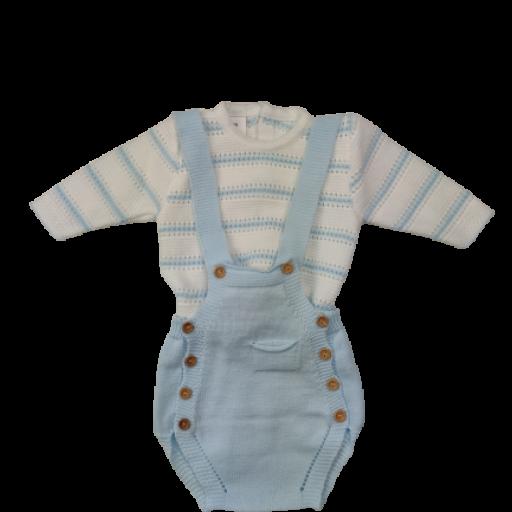 Ranita y jersey de punto para niño en celeste