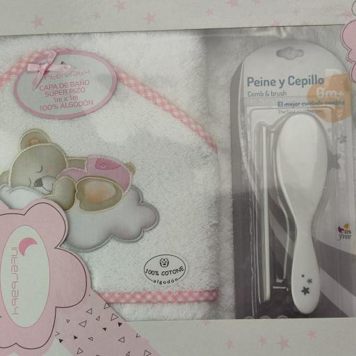 Juego de capa de baño + peine y cepillo en blanco y rosa [1]