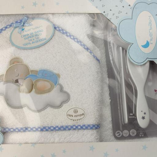 Juego de capa de baño + peine y cepillo en blanco y azul [1]