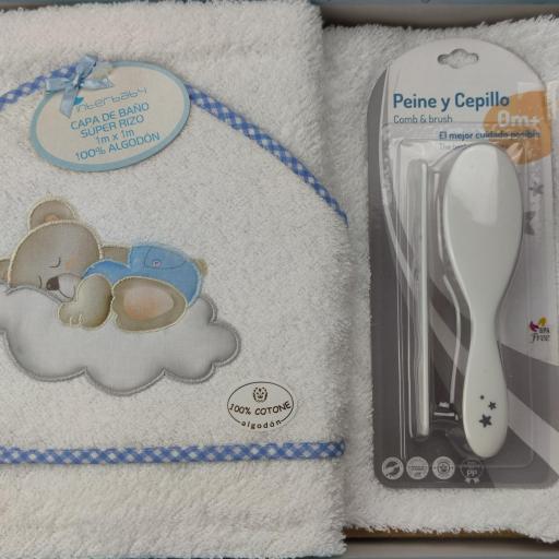 Juego de capa de baño + peine y cepillo en blanco y azul [0]