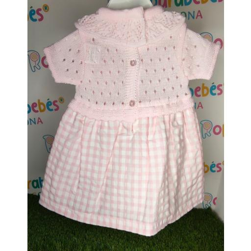 Vestido de niña de primera puesta Vichy en rosa [1]