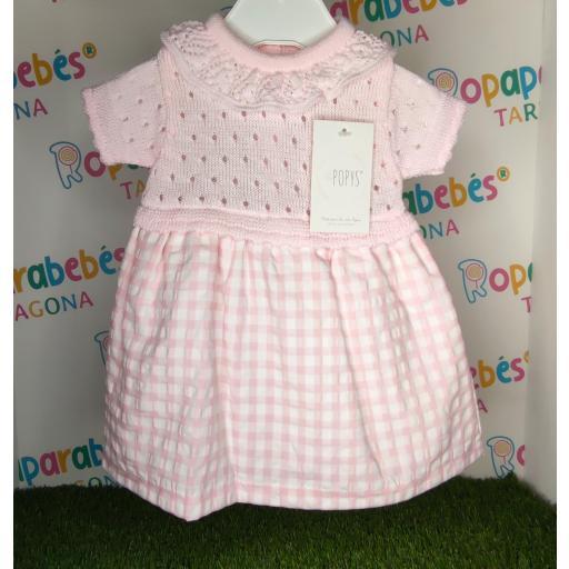 Vestido de niña de primera puesta Vichy en rosa
