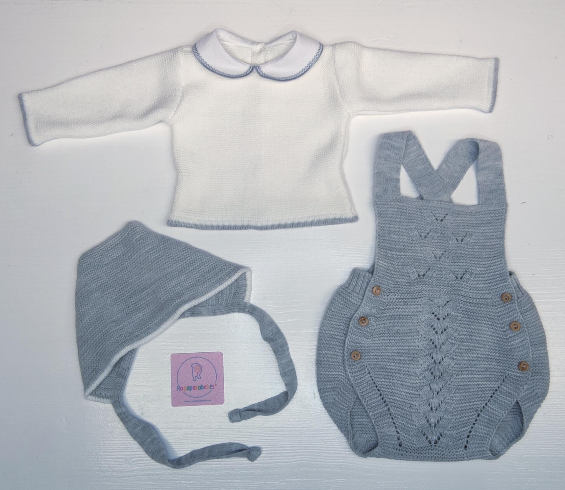 Conjunto ranita en lana 3 piezas en gris