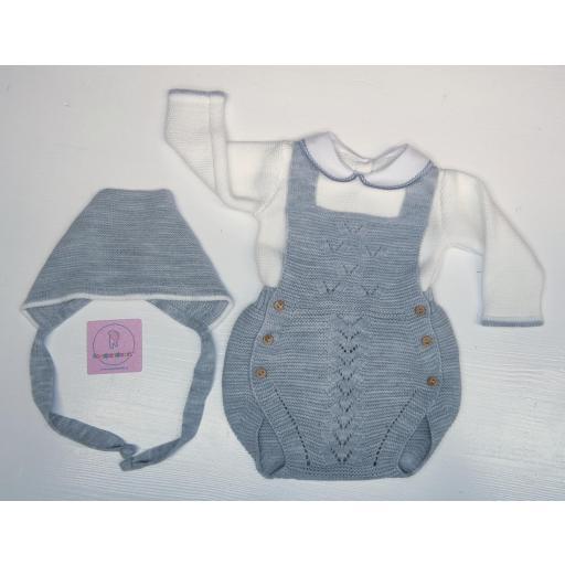 Conjunto ranita en lana 3 piezas en gris [1]