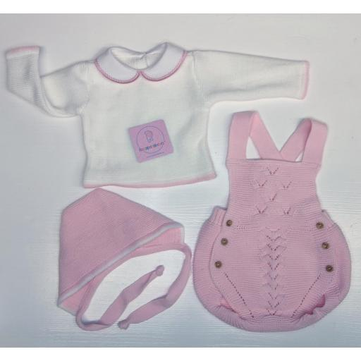 Conjunto ranita en lana 3 piezas en rosa