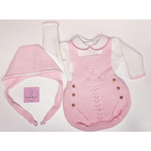 Conjunto ranita en lana 3 piezas en rosa [1]