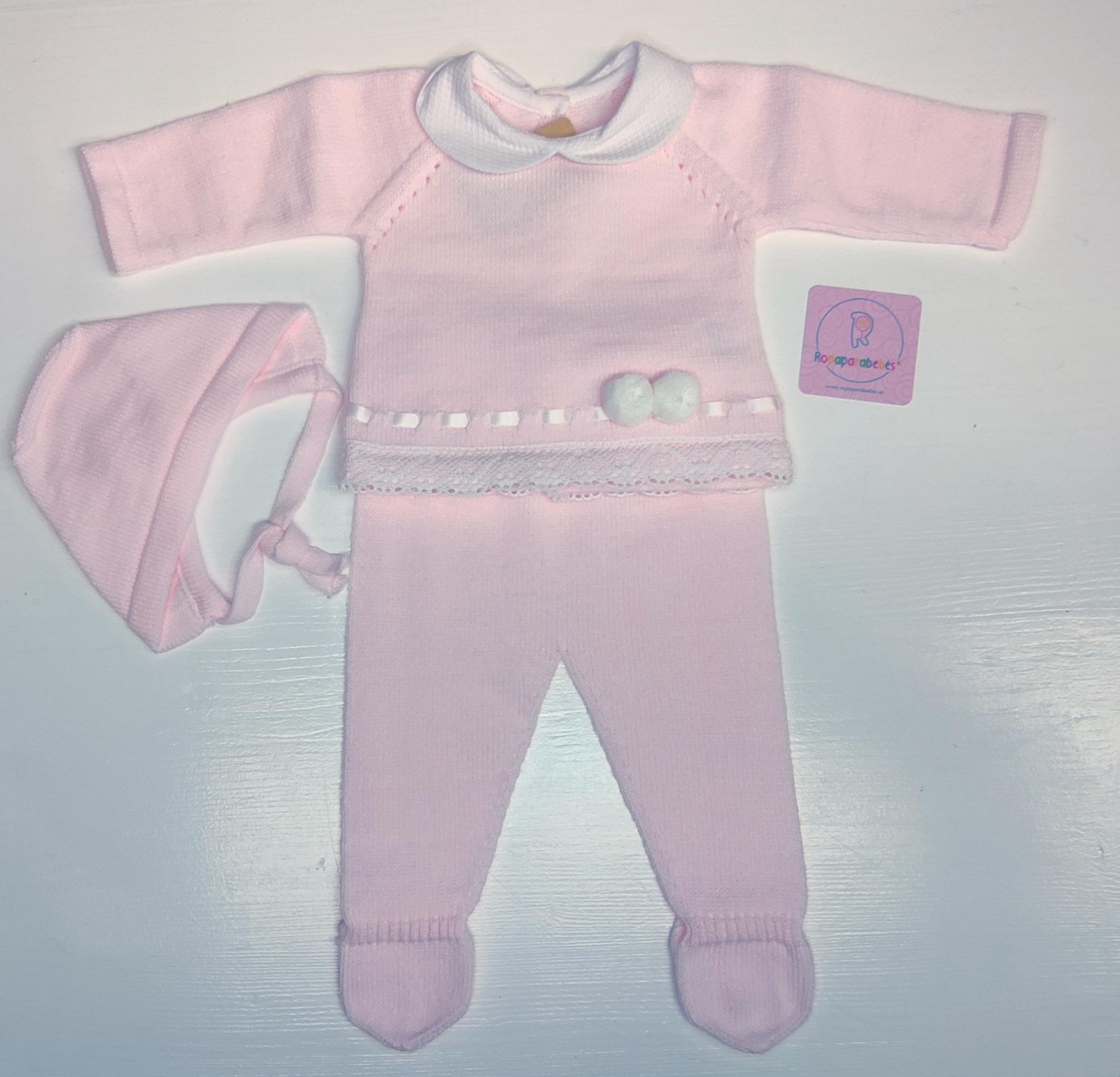 Conjunto de lana en rosaBorlitas