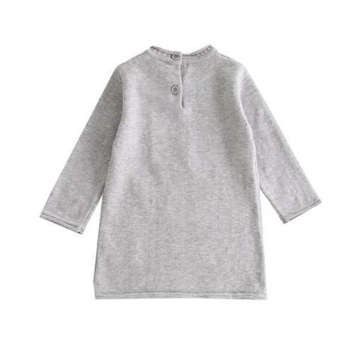 Vestido de niña en punto gris Mascotas [1]