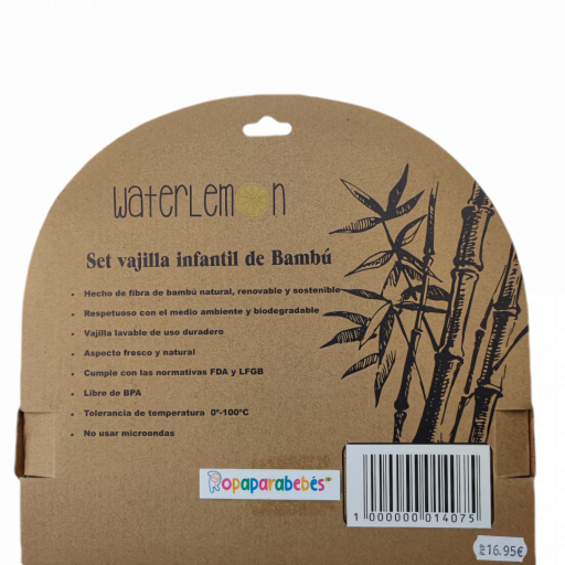 Vajilla de bambú ecológico Unicornio 5 piezas [1]