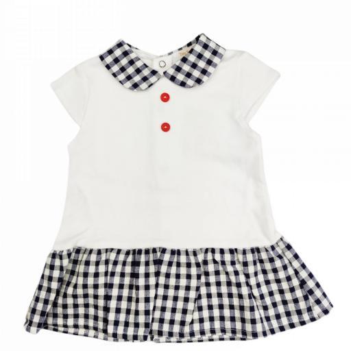 Vestido de niña Vichy en marino