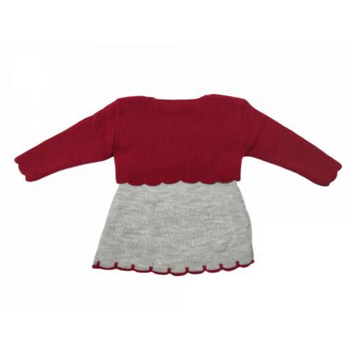Vestido y torera de punto en granate y rojo [2]