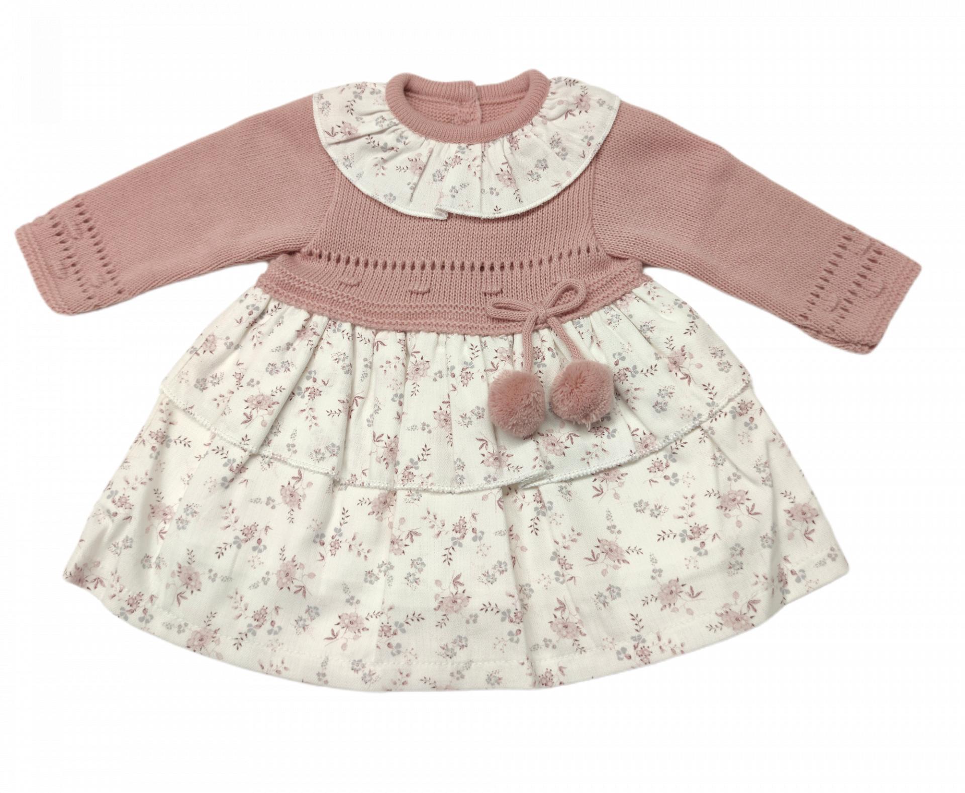 Vestido de niña en dos telas Flores