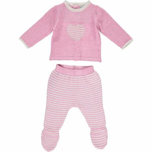 Conjunto primera puesta niña polaina 2 piezas en algodón tricot Heart
