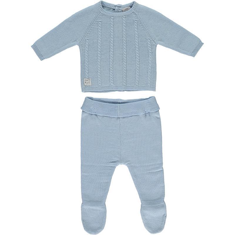 Conjunto primera puesta niño polaina 2 piezas en algodón tricot Cord