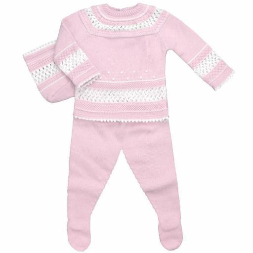 Conjunto de algodón 3 piezas punto garbanzo en rosa