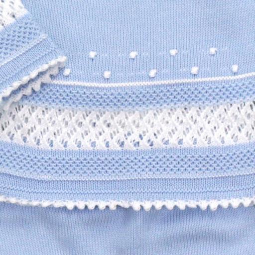 Conjunto de algodón 3 piezas punto garbanzo en celeste [1]