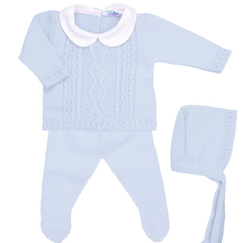 Conjunto de lana 3 piezas Trenza celeste
