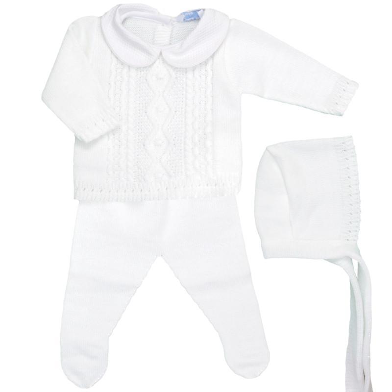 Conjunto de lana 3 piezas Trenza blanco