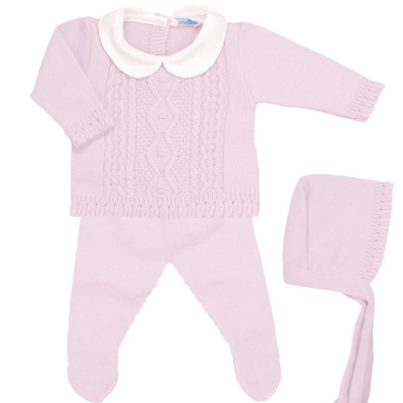 Conjunto de lana 3 piezas Trenza rosa