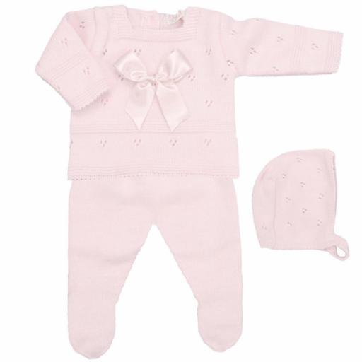 Conjunto de lana 3 piezas Lacito rosa