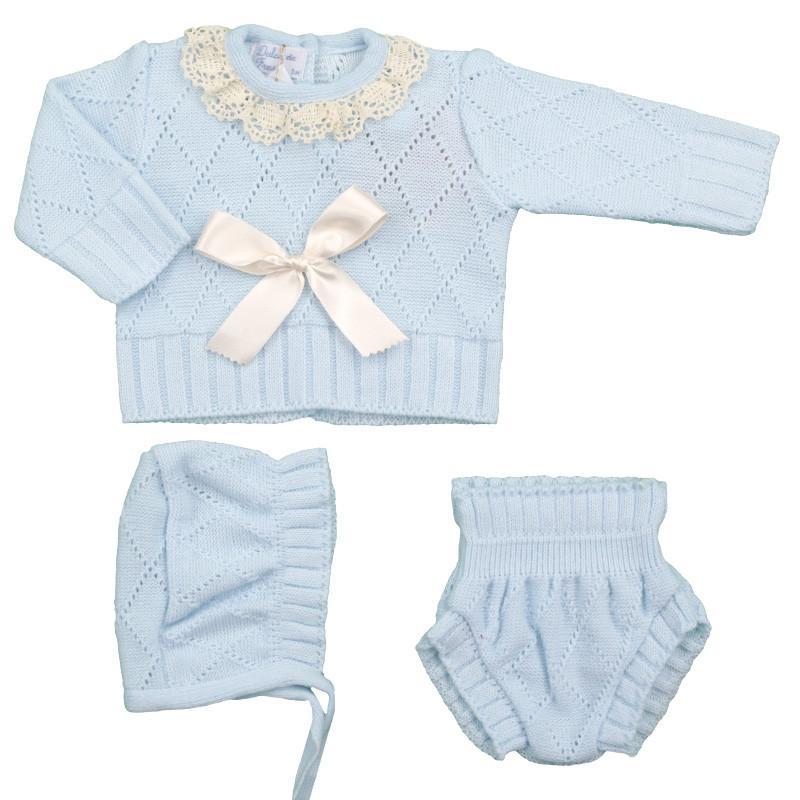 Conjunto de lana 3 piezas Rombos celeste