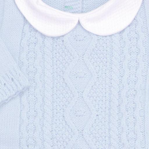 Conjunto de lana 3 piezas Trenza celeste [1]