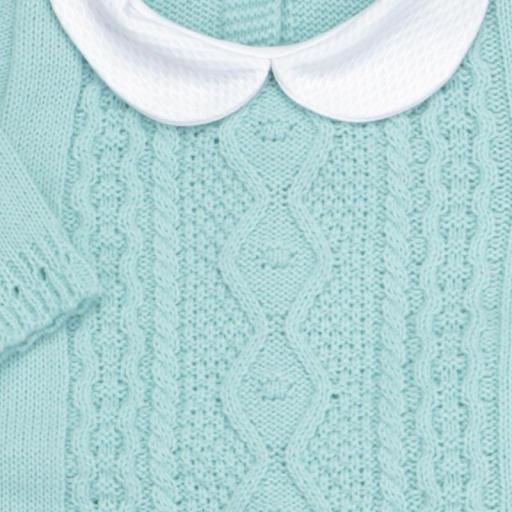 Conjunto de lana 3 piezas Trenza verde agua [1]