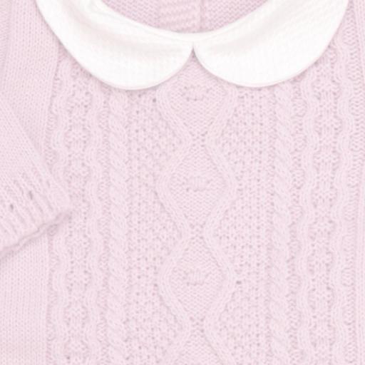 Conjunto de lana 3 piezas Trenza rosa [1]