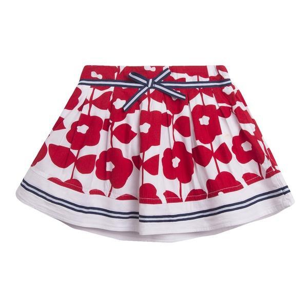 Falda flores rojas
