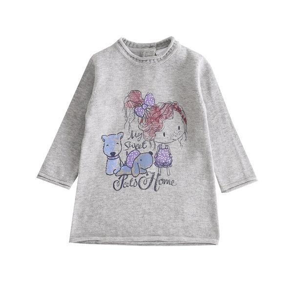 Vestido de niña en punto gris Mascotas
