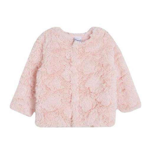 Abrigo para niña pelo artificial en rosa
