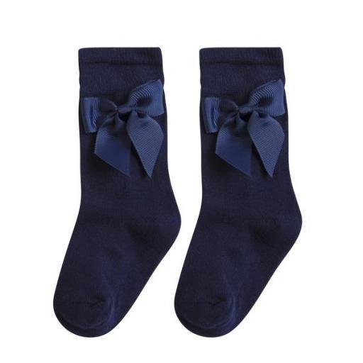 Calcetín medio con lazo en azul marino