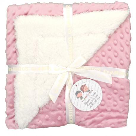 Manta borreguillo en tejido doralina en rosa maquillaje