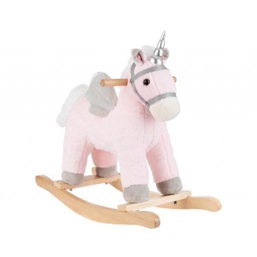 Balancín con musica caballo rosa