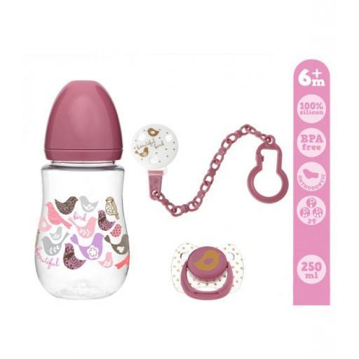 Conjunto biberón, chupete y cadena en rosa