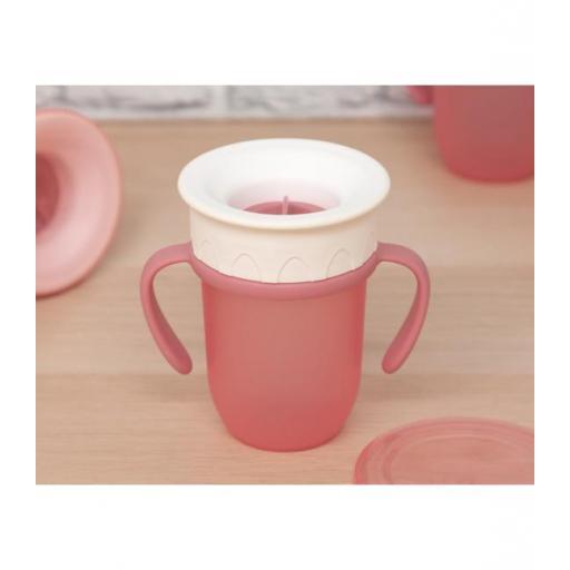 Vaso antiderrame Step 3 CON asas en rosa