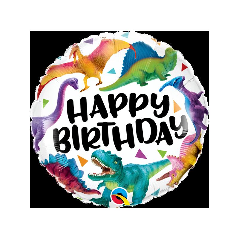 "18"" Birthday Colourful Dinosaurs"