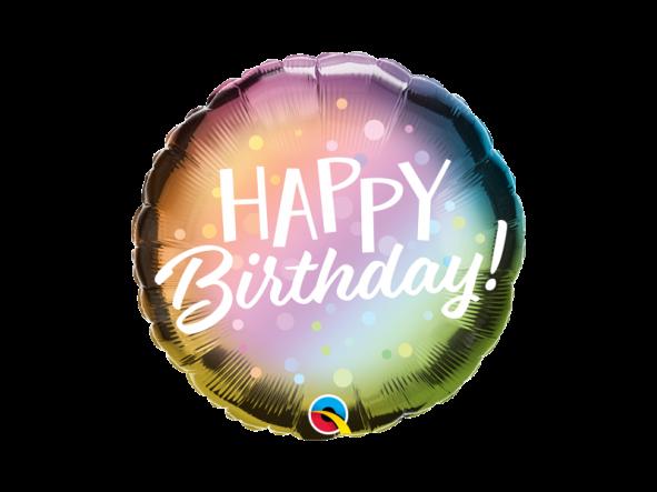 "18"" Birthday Metallic Ombre & Dots"