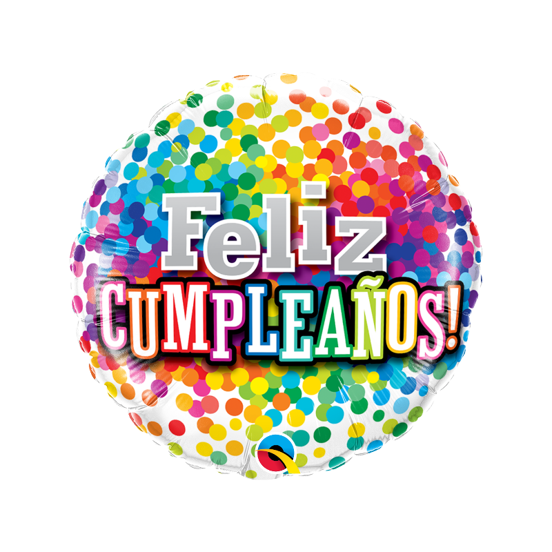 "18"" Feliz Cumpleaños Rainbow Confetti"