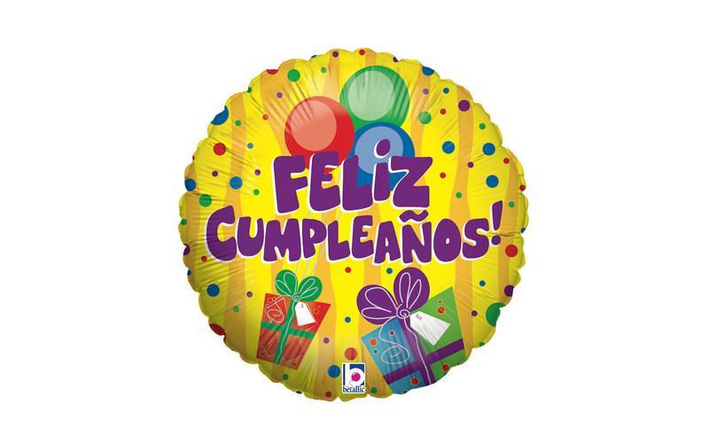 """Globo foil 18"""" Feliz Cumpleaños Regalos"""