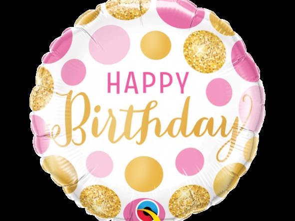 "18"" Birthday Pink & Gold Dots"