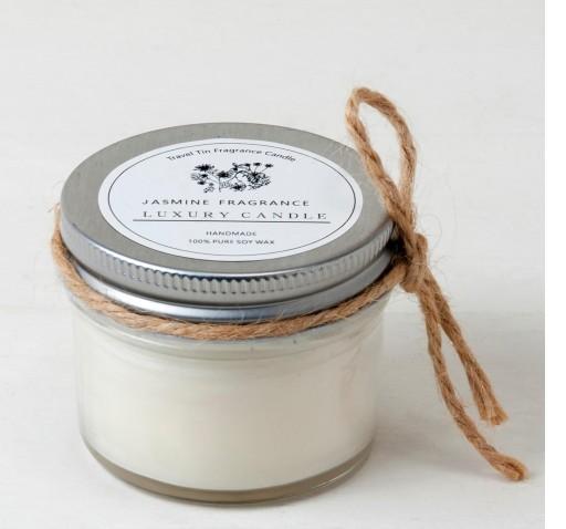 Vela con aroma de jazmín en tarro