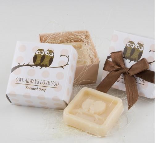 Jabón perfumado de búhos en caja regalo con lazo