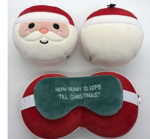 Almohada de Viaje y Antifaz - Papa Noel
