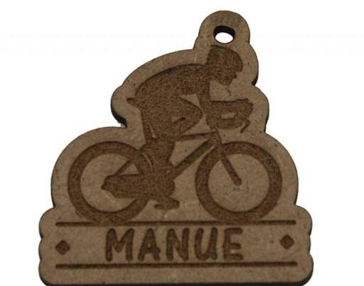 Colgante Madera Ciclista