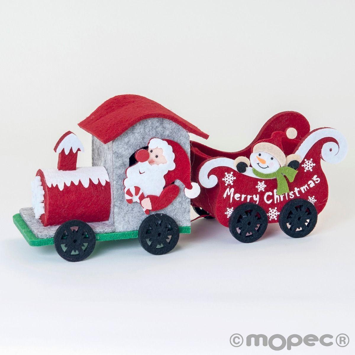 Tren de fieltro navideño