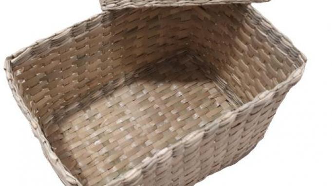 Caja grande de junco con tapa