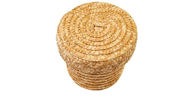 Caja grande redonda de paja con tapa
