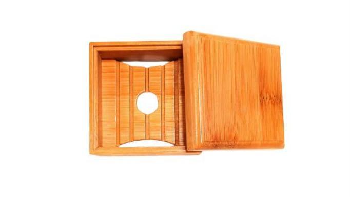Jabonera de Bambú cuadrada con tapa