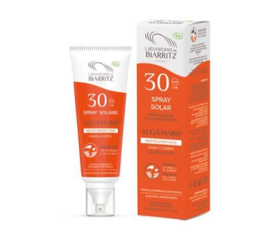 Spray Solar Cara & Cuerpo SPF30 100 ml con certificado BIO. 